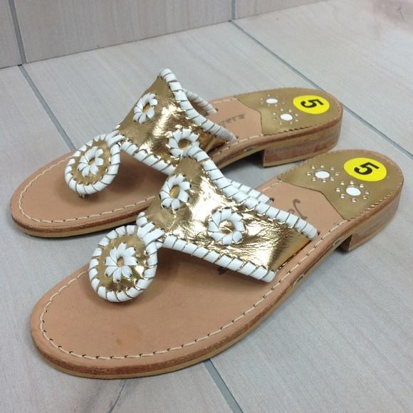 06c2dbdf6 Jack Rogers Shoes -  SALE  Jack Rogers Palm Beach Sandals Gold sz 5